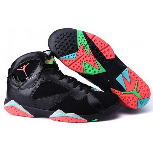 Big Size Air Jordan 7 Black Green Red Shoes