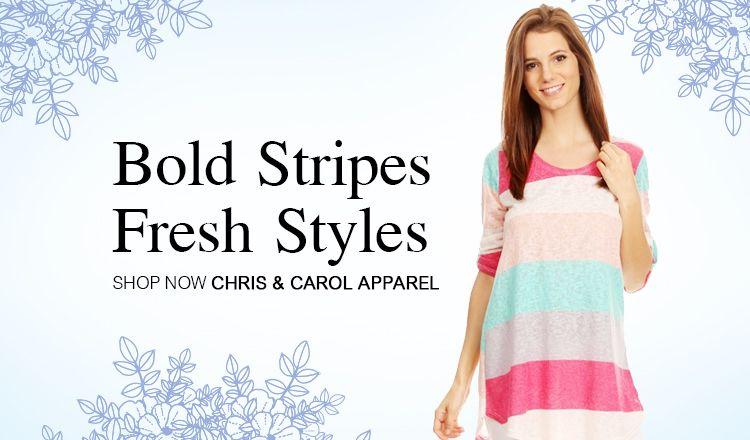 Wear your stripes. Shop with Chris & Carol.  http://www.fashiongo.net/chriscarol #fashion #fashiongo #spring #style #trend