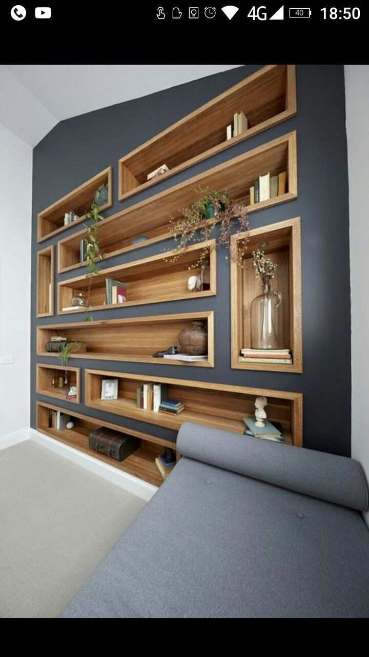 Photo of Integrated wooden wall shelves, original wall bookcase // blog.in… – home / decoration