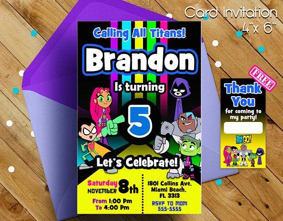 Teen Titans Go Invitation, Teen Titans Go, Invitation, Invitacion de Teen Titans, Teen Titans Go