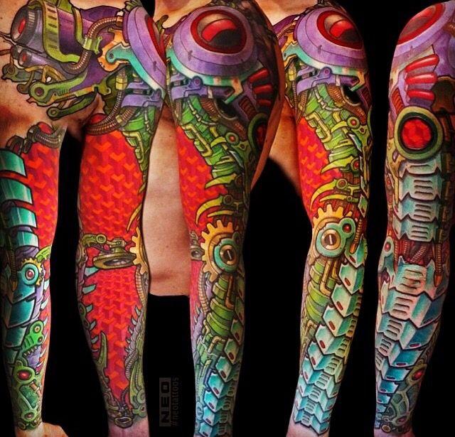 cf522728e90de Colorful Bio-Mechanical tattoo sleeve by Delaine Gilma | Tattoo ...
