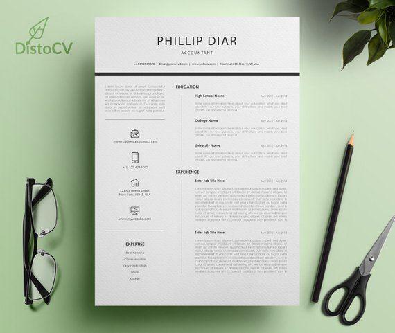 Minimalist Resume Template, Word CV Template, Professional