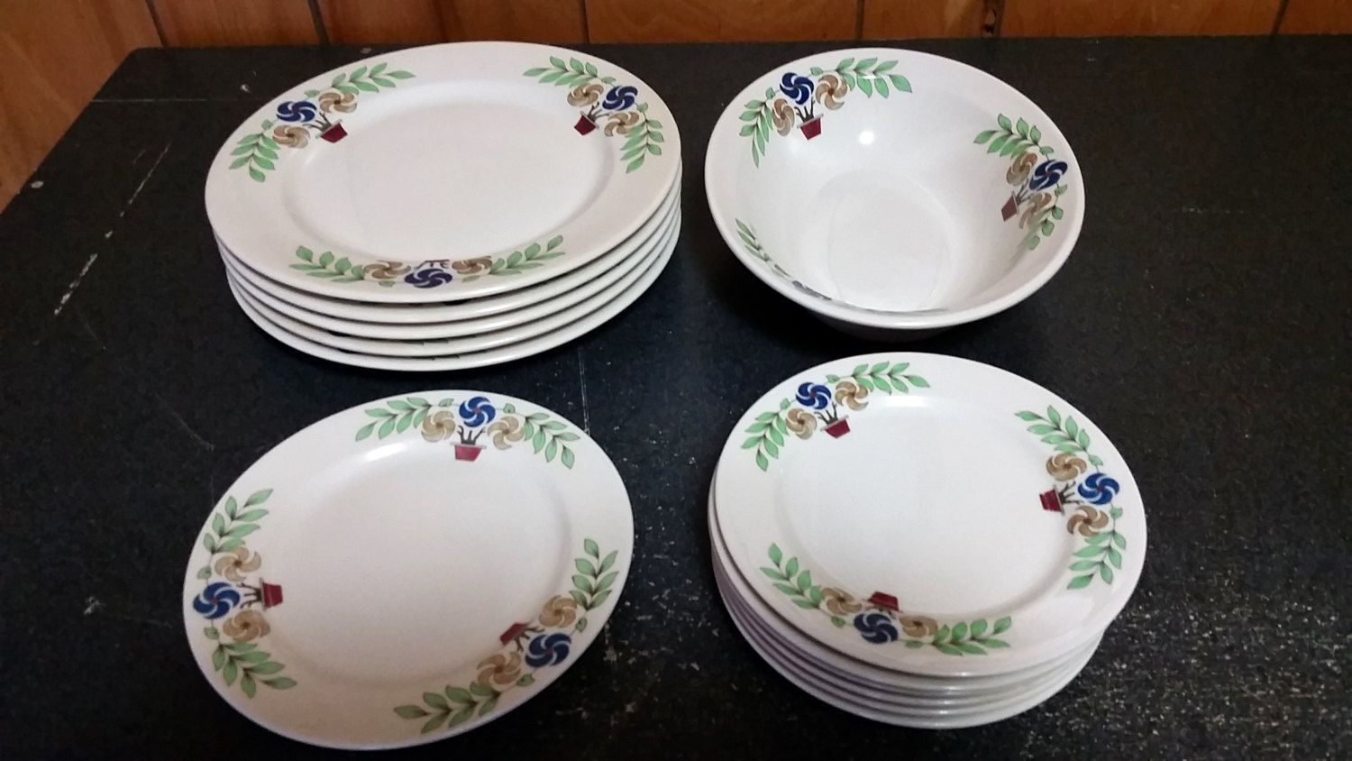Rare Syracuse China 13 Piece Great Northern Railroad Oriental Pattern Dinner Set - 5 Dinner Plates 7 Dessert Plates and 1 Oval Serving Bowl USD) by ... & Rare Syracuse China 13 Piece Great Northern Railroad Oriental ...