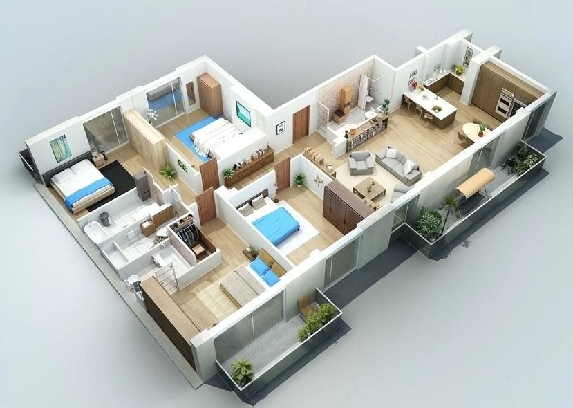 3D Haus Design Bedroom house plans, Apartment floor