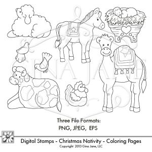 christmas nativity baby jesus digital stamps coloring