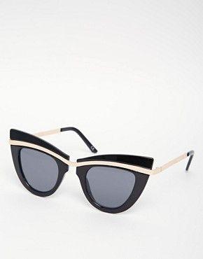 33c6f1488d7 ASOS Cat Eye Sunglasses With Built Up Highbrow
