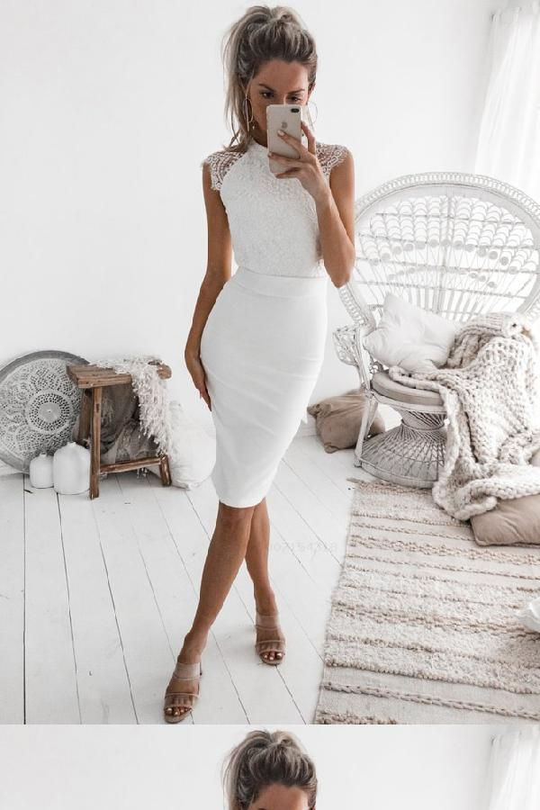 Customized Splendid Lace Party Dress, Homecoming Dress White, White Lace Party Dress -   17 white dress Midi ideas
