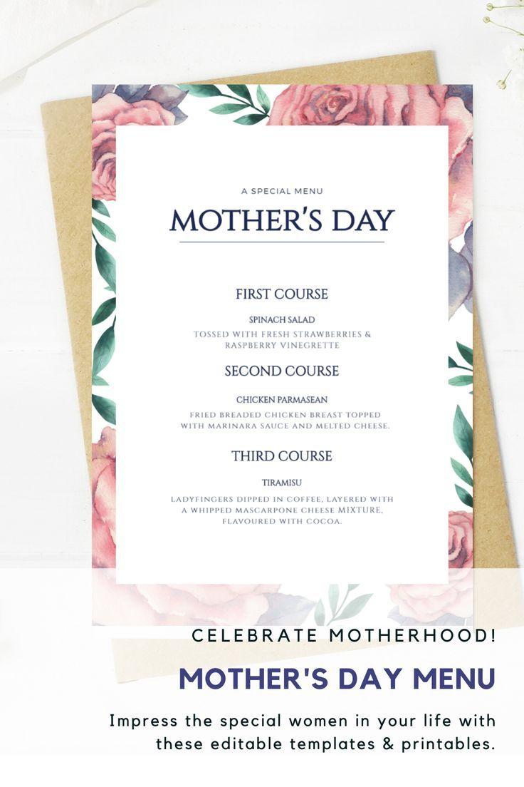 Mothers day dinner menu floral menu template 85 x 11