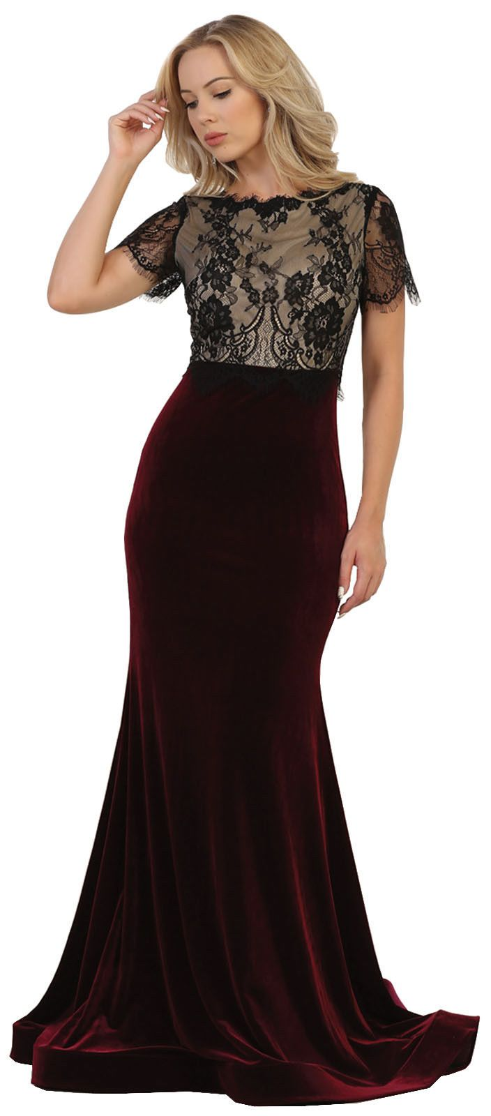 Cool amazing short sleeve prom dance party dresses fitted formal