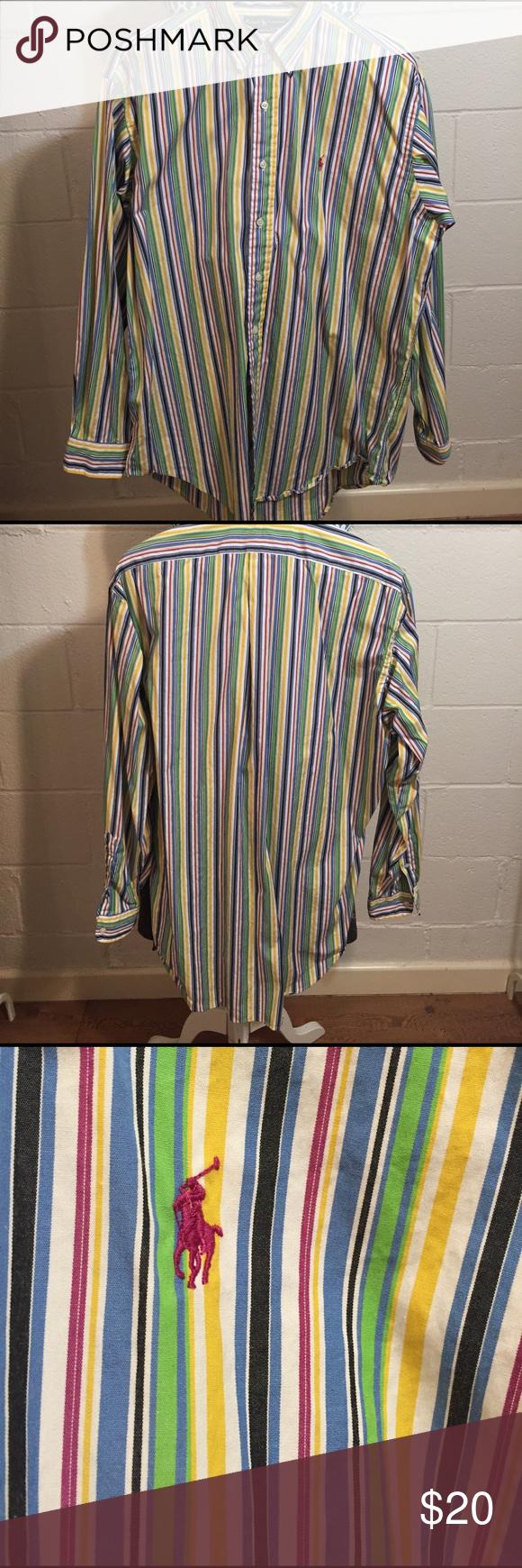 RL Multi Striped Button Down Shirt Thin stripes of green, purple, blue, white, yellow & black. 100% cotton. EUC Ralph Lauren Shirts Dress Shirts