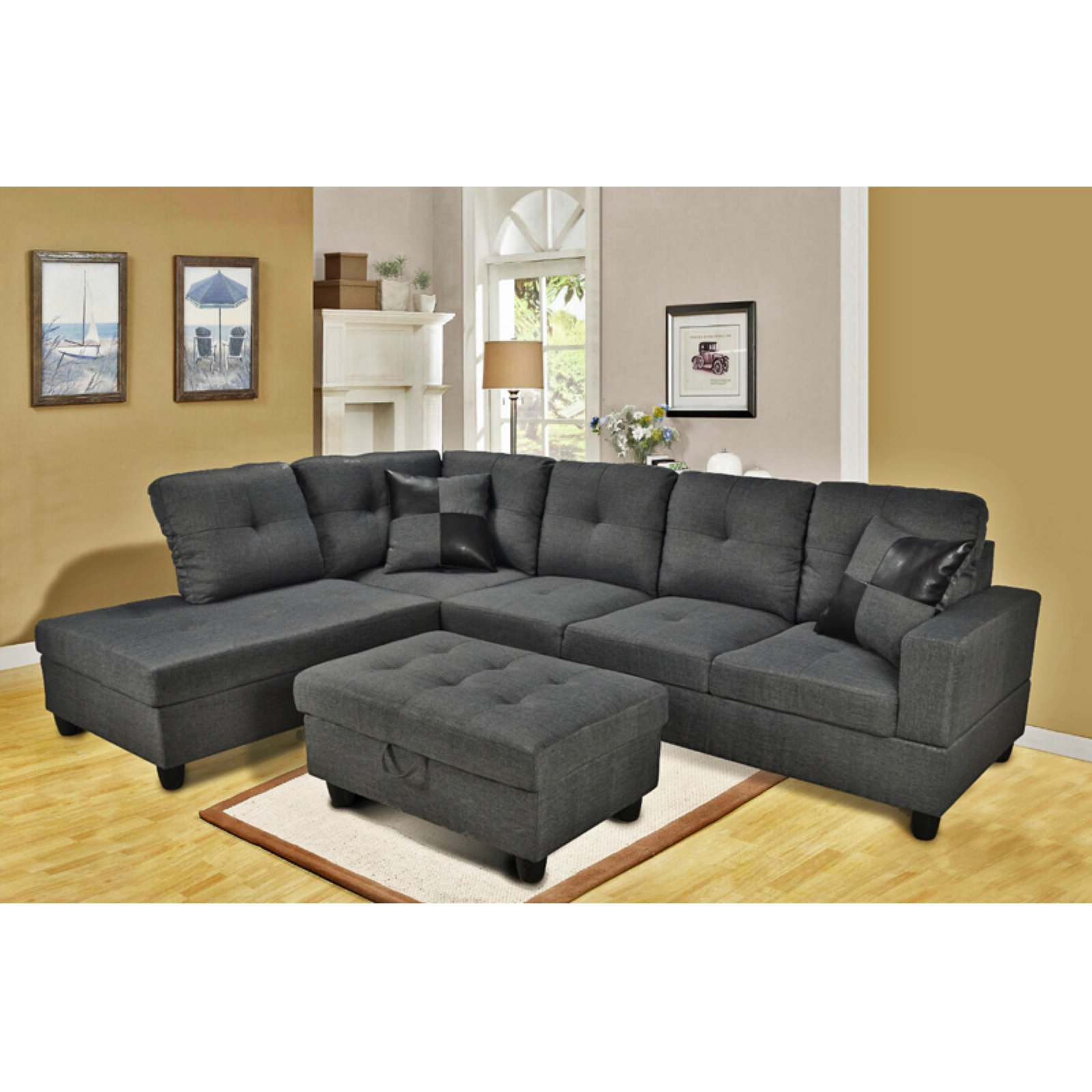 Outstanding Beverly Fine Furniture 3 Piece Gray Microfiber Sectional Squirreltailoven Fun Painted Chair Ideas Images Squirreltailovenorg