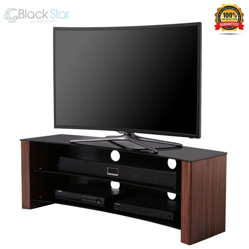 1home Curved Tv Stand Fits 32 55 Inch 4k Ultra Hd Led Lcd Oled Flat Walnut Curved Tv Stand Curved Tvs Tv Stand