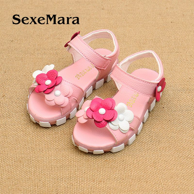 221301230 Click to Buy    2017 summer new Korean girl sandals small children princess  shoes flowers exposed to the beach shoes  Affiliate