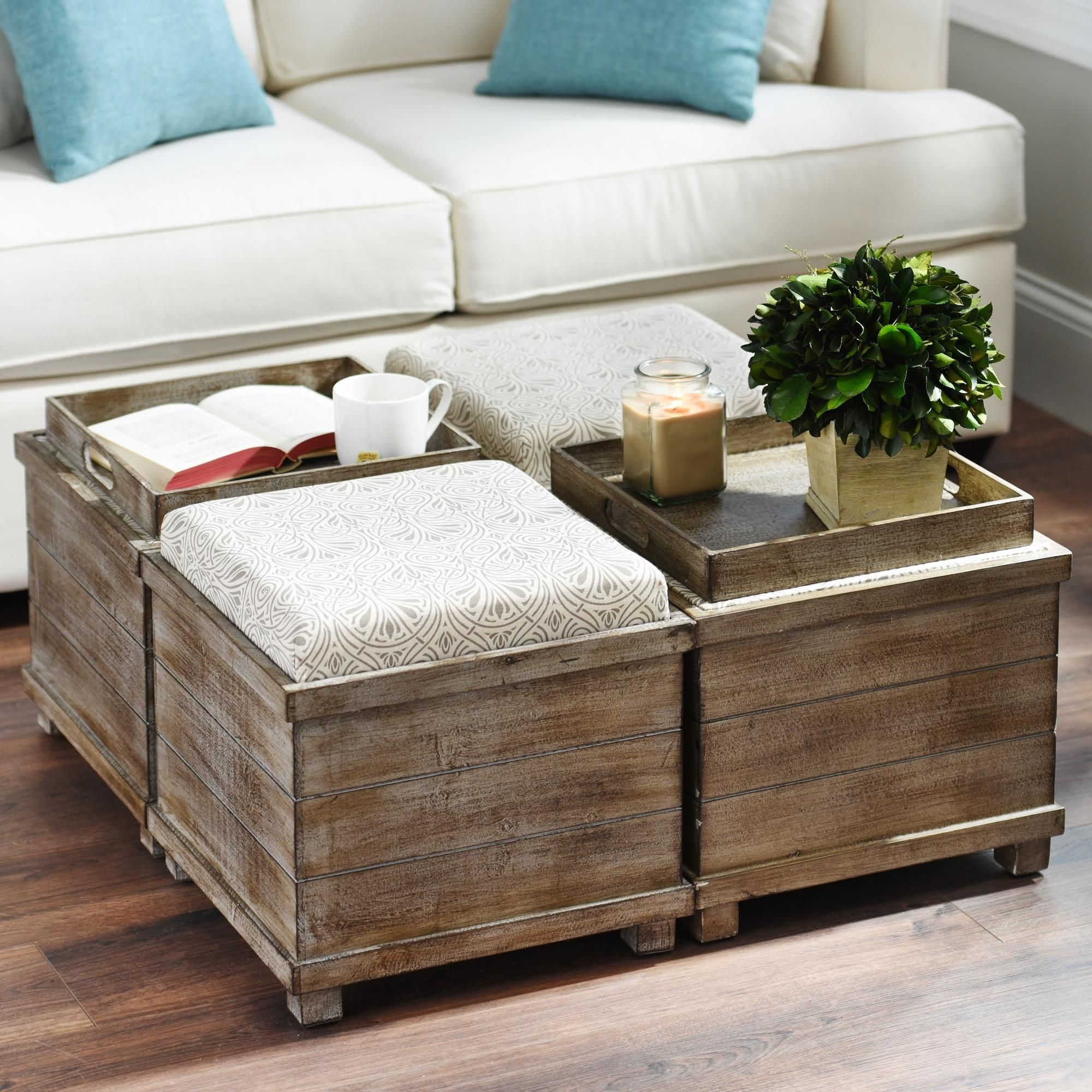 Taupe Amp Cream Reversible Tabletop Storage Ottoman In 2019
