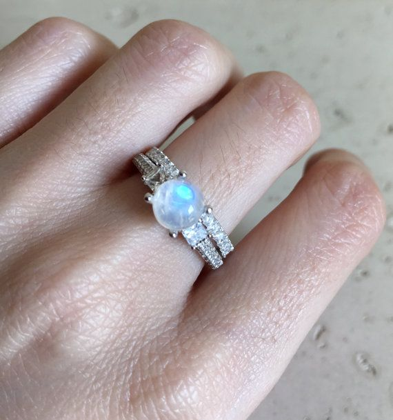 Moonstone Bridal Set Ring Promise Ring Engagement and Wedding Ring