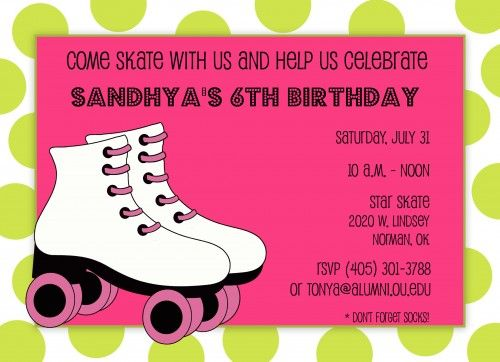 Free Roller Skate Invitation Template – Birthday Party Card Template