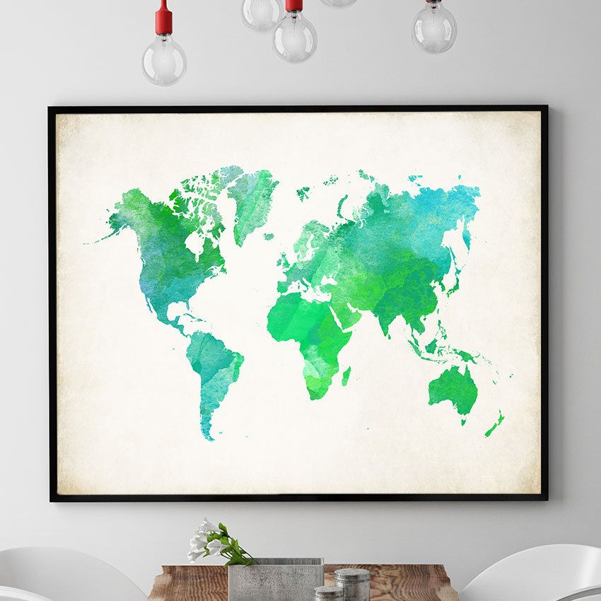 Green world map art watercolour world map print world map wall green world map art watercolour world map print world map wall art world sciox Gallery