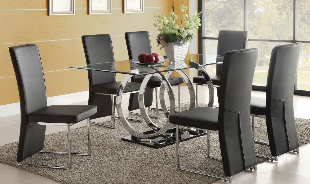 Exclusive Olympia Glass Dining Table With 6 Chairs With Images