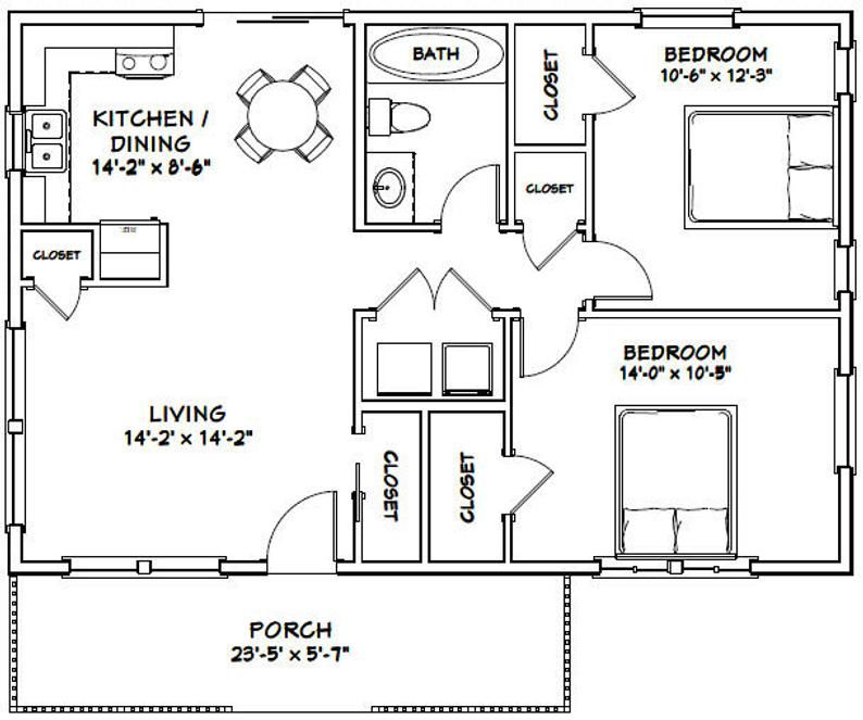 36x24 House 2Bedroom 1Bath 864 sq ft PDF Floor Plan