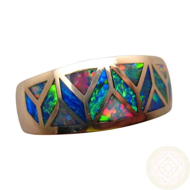 Geometric inlay opal ring 14k gold wide band opal