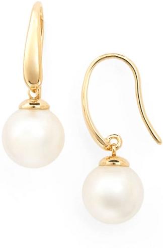 White Freshwater Triple Pearl Drop Sterling Silver 925 Hook Earrings Bridal Prom