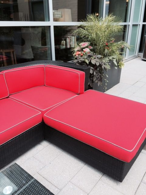 New red cushions! Come down and lounge!