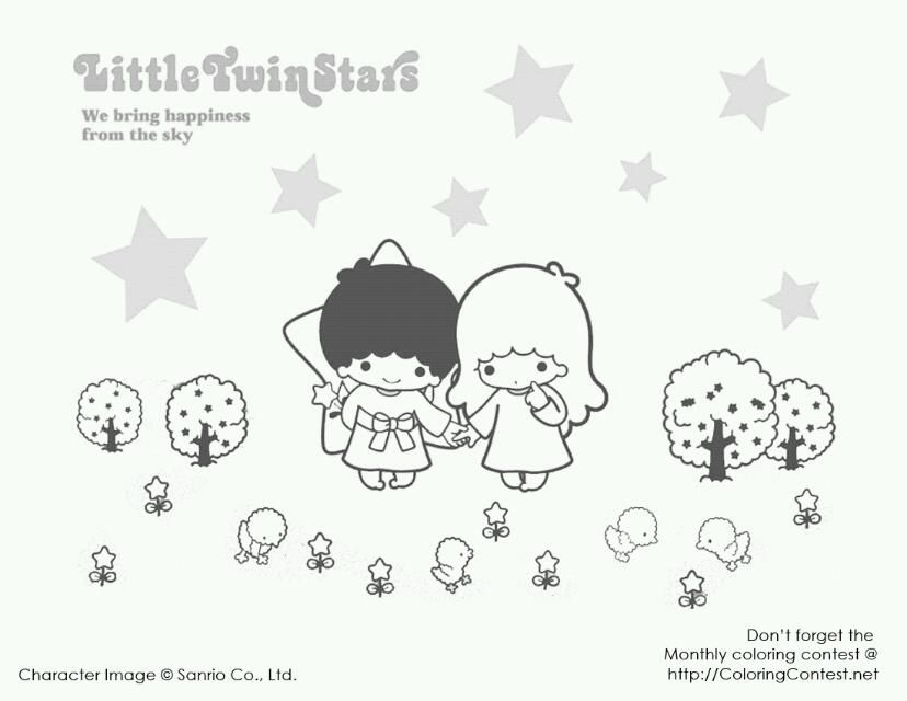 Coloring Pages Star Coloring Pages Little Twin Stars Cute Coloring Pages