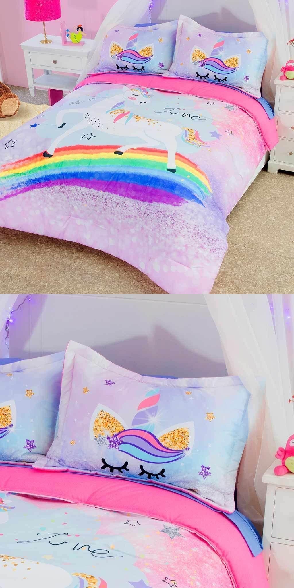 Comforters And Sets 66728 Girls Pink Rainbow Unicorn Comforter