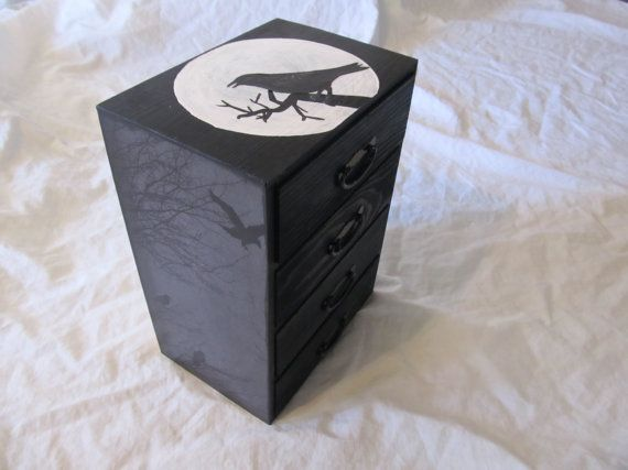 Raven Trees Moon Tabletop Chest of Drawers Jewelry by funhouse777, $60.00