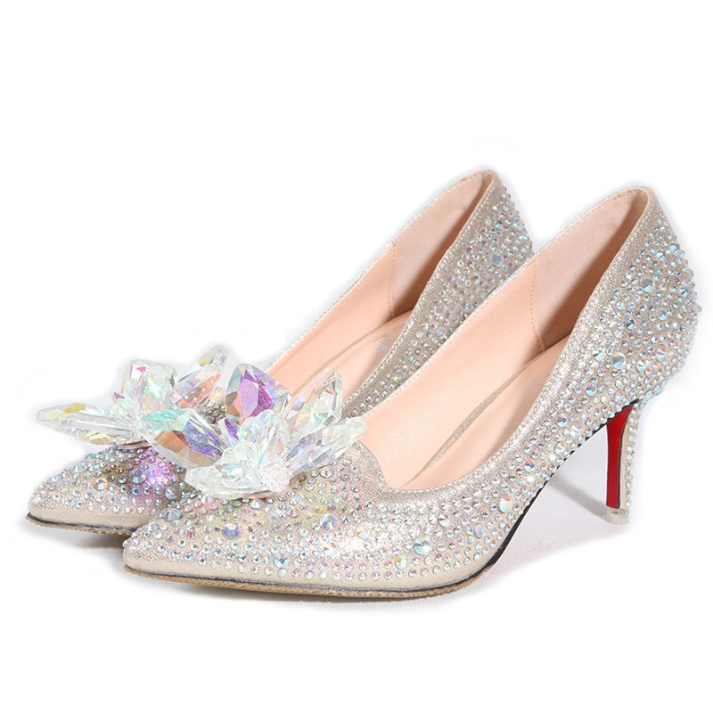 Shoe Carnival Boots Women On Sale At Reasonable Prices Buy New Hot Silver Gold Rhinestones Wedding Shoes High Heels Slip ON Cinderella Crystal