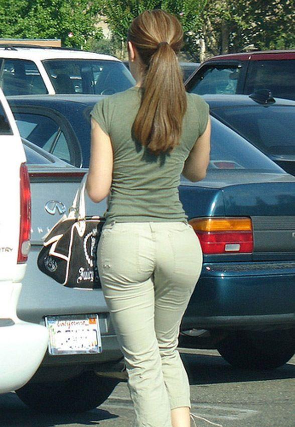 Candid mature ass denim jeans