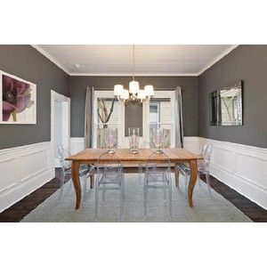 Gray Walls White Wainscoting Yes Dining Room Colors Paint