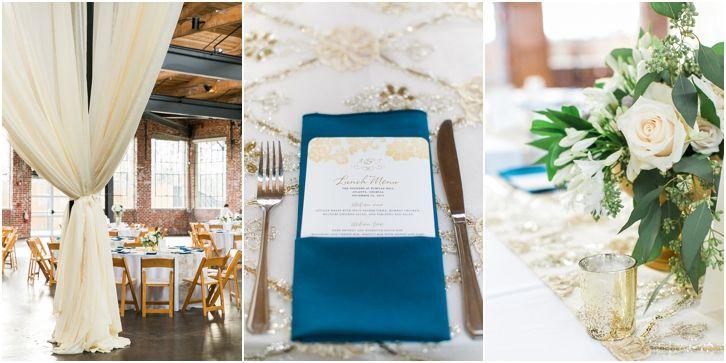 Navy and gold wedding reception decor