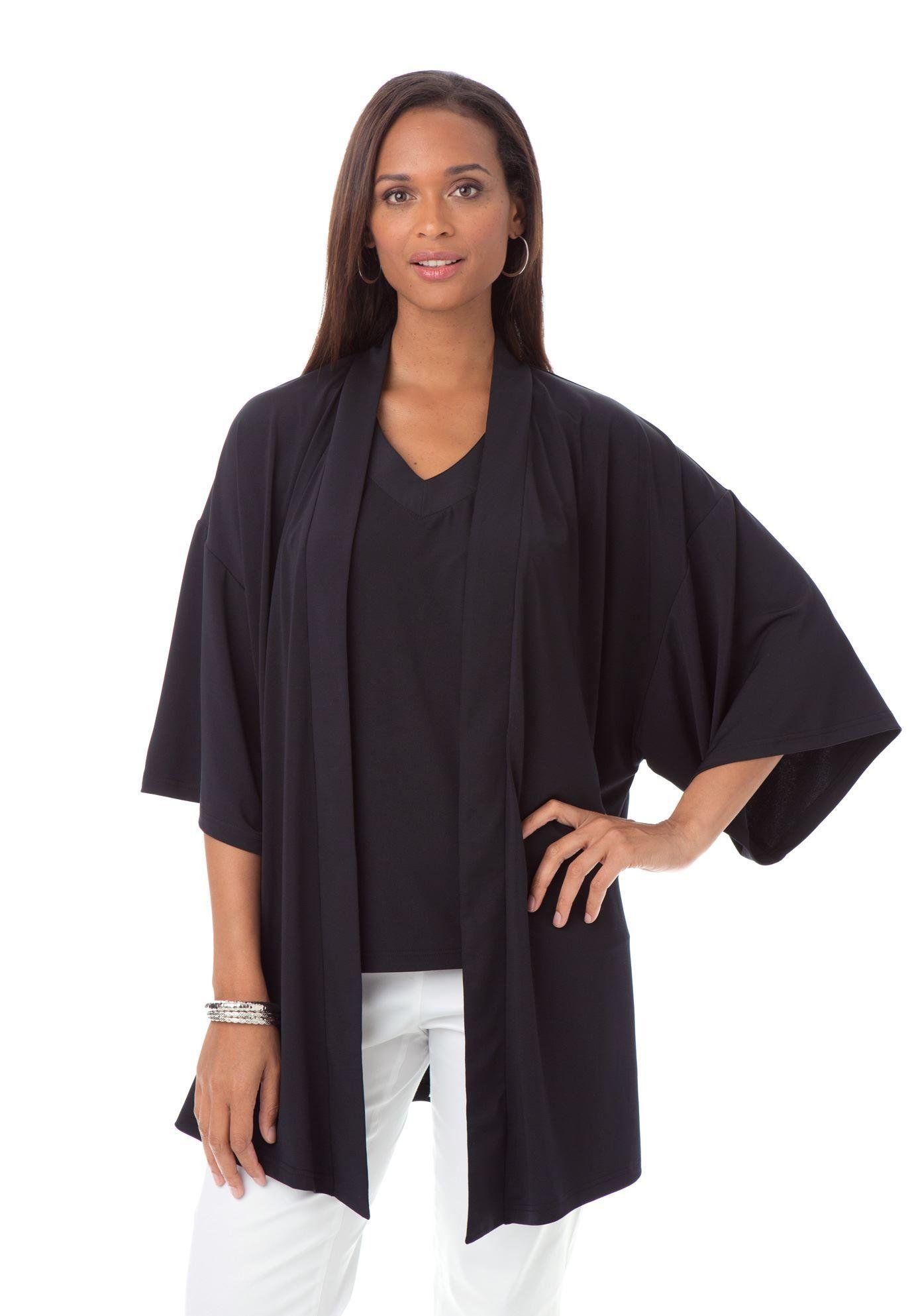 Elegant soft & flowing plus size kimono cardigan with a self tie ...