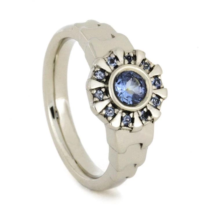 White Gold Iron Man Ring Aquamarine Arc Reactor Ring 1911 Rings For Men Wedding Rings For Women Rose Gold Diamond Ring