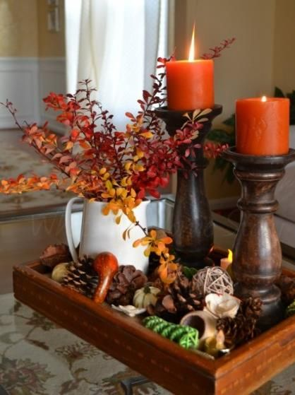 Inexpensive fall centerpiece pinecone clear glass and for Inexpensive thanksgiving table decorations