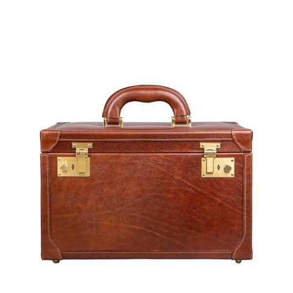 Maxwell Scott Bags Luxury Italian Leather Women S Vanity Case Bellino Classic Chestnut Tan Maxwellscottbags All
