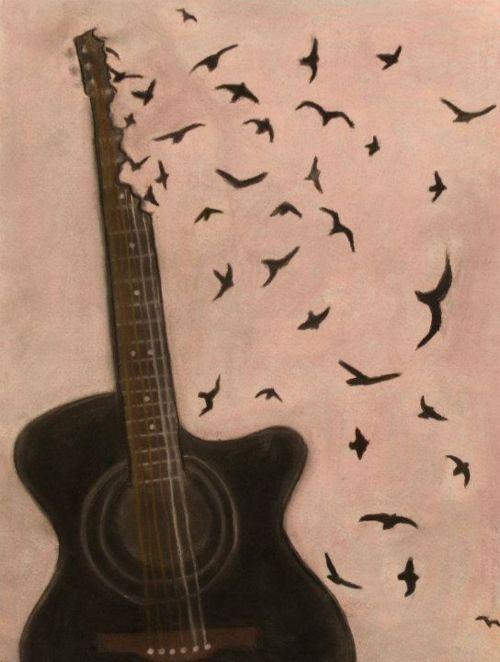Resultado de imagen para toca guitarra y aves  pintura