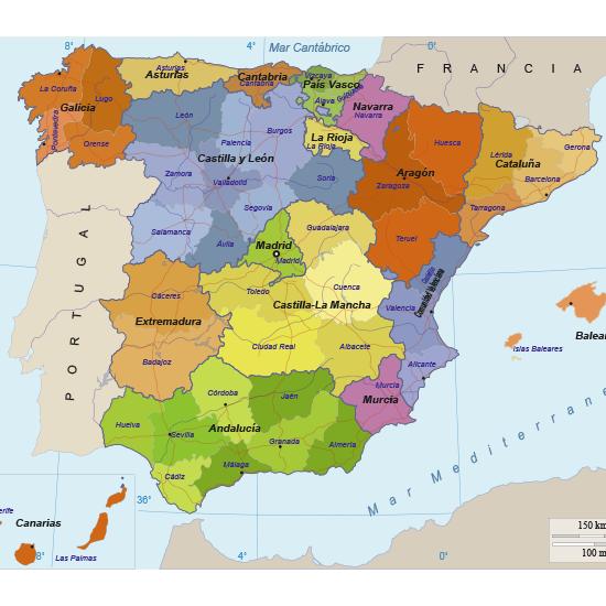 Mapa España Comunidades Autonomas Png.Mapa Politico De Espana Editable Mapa Espana Ciudades