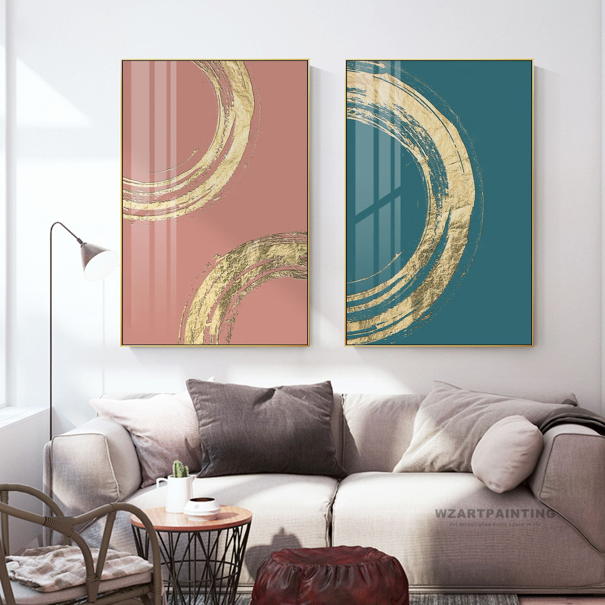 Framed Wall Art Set Of 2 Prints Abstract Gold Blue Pink Print Etsy Framed Wall Art Sets Wall Art Sets Wall Art Prints