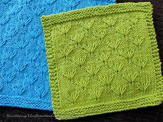 August 2016. Hand Knit Dishcloth #1 - Dandelion pattern. | tejidos ...