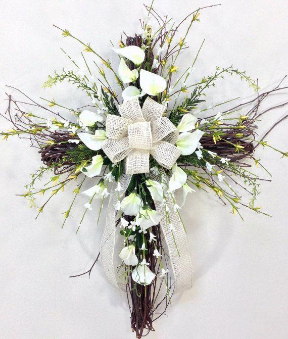 Cross Wedding Altar Flowers: Spring Cross, Cross, Easter, Easter Door Décor, Spring