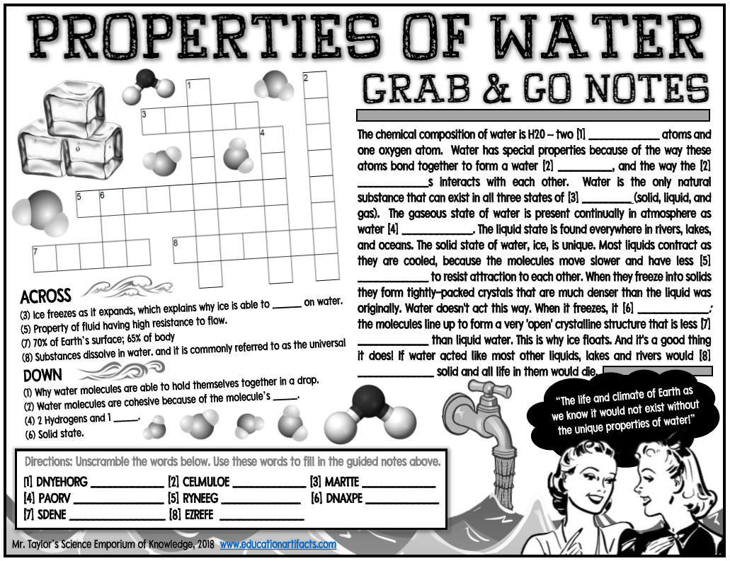 Grab And Go Notes Properties Of Water