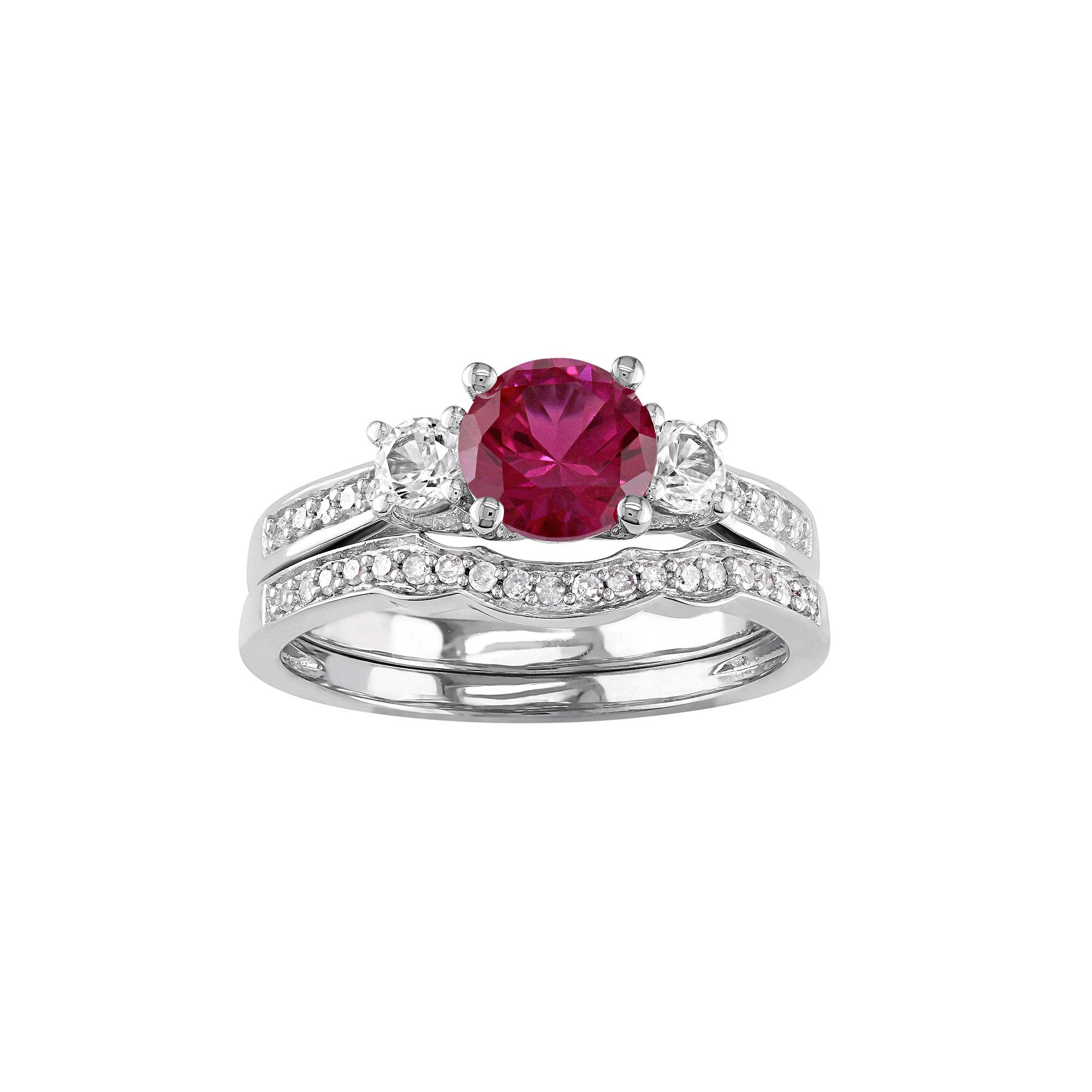 sapphire stone walmart com ring w created g white lab carat three diamond and engagement ip tangelo t gold pink rings
