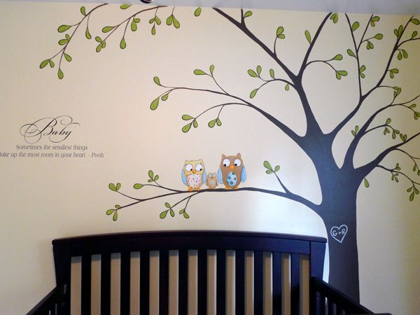 Tree Mural With Owls Baby Nursery Inspiration
