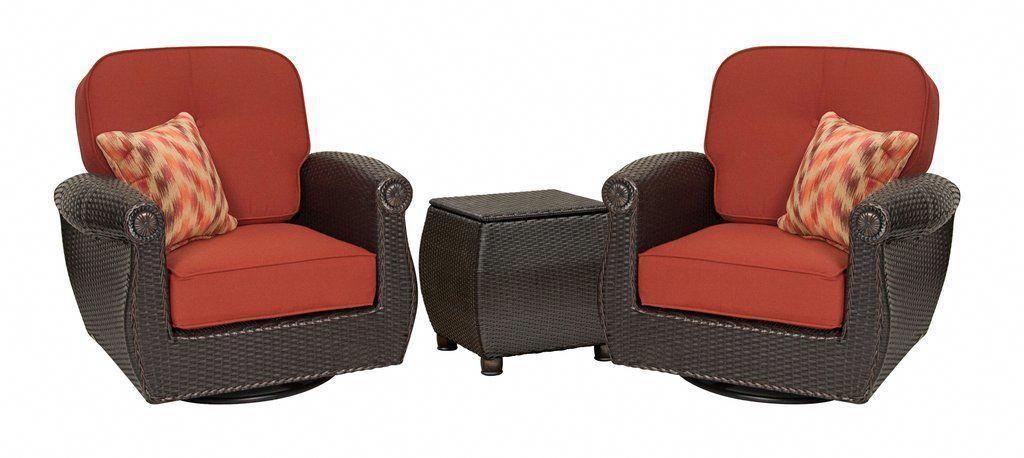 2e09d70d3c6 Breckenridge 3 Piece Patio Furniture Set  2 Swivel Rockers (Brick Red) and  Side
