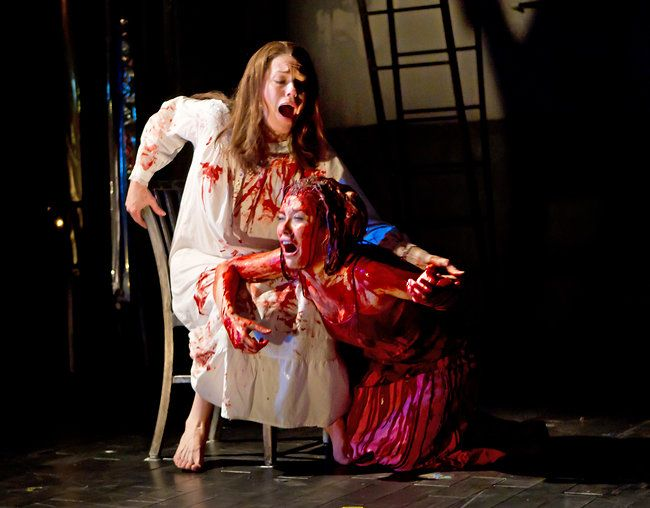 """Marin Mazzie, left, and Molly Ranson in the new production of """"Carrie"""" by Sara Krulwich/The New York Times"""