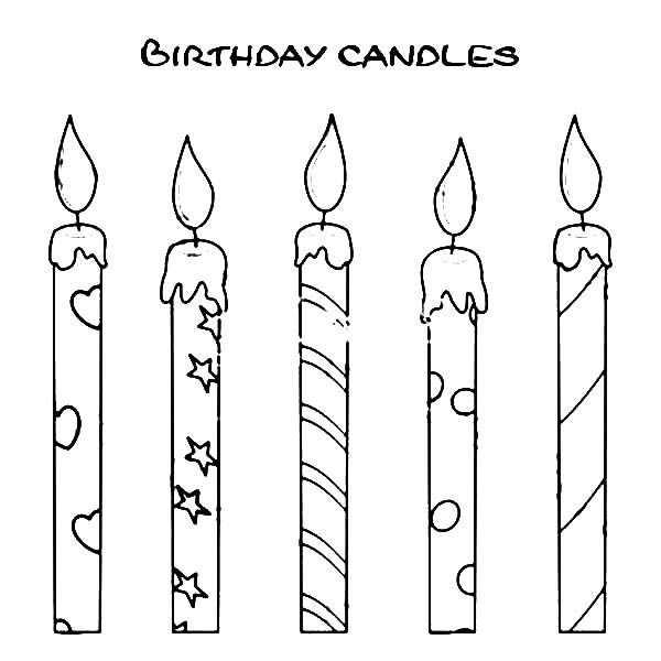 How To Draw Birthday Candle Coloring Pages Birthday Candles