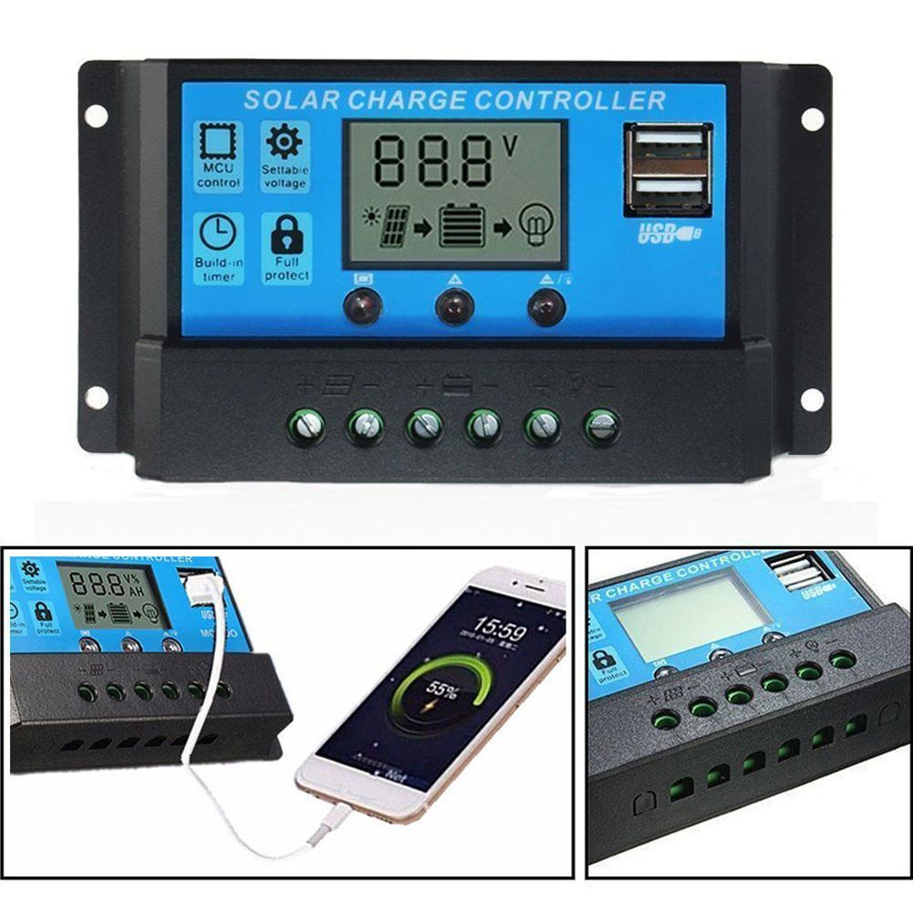 10/20/30A Dual USB Solar Panel Battery Regulator Charge