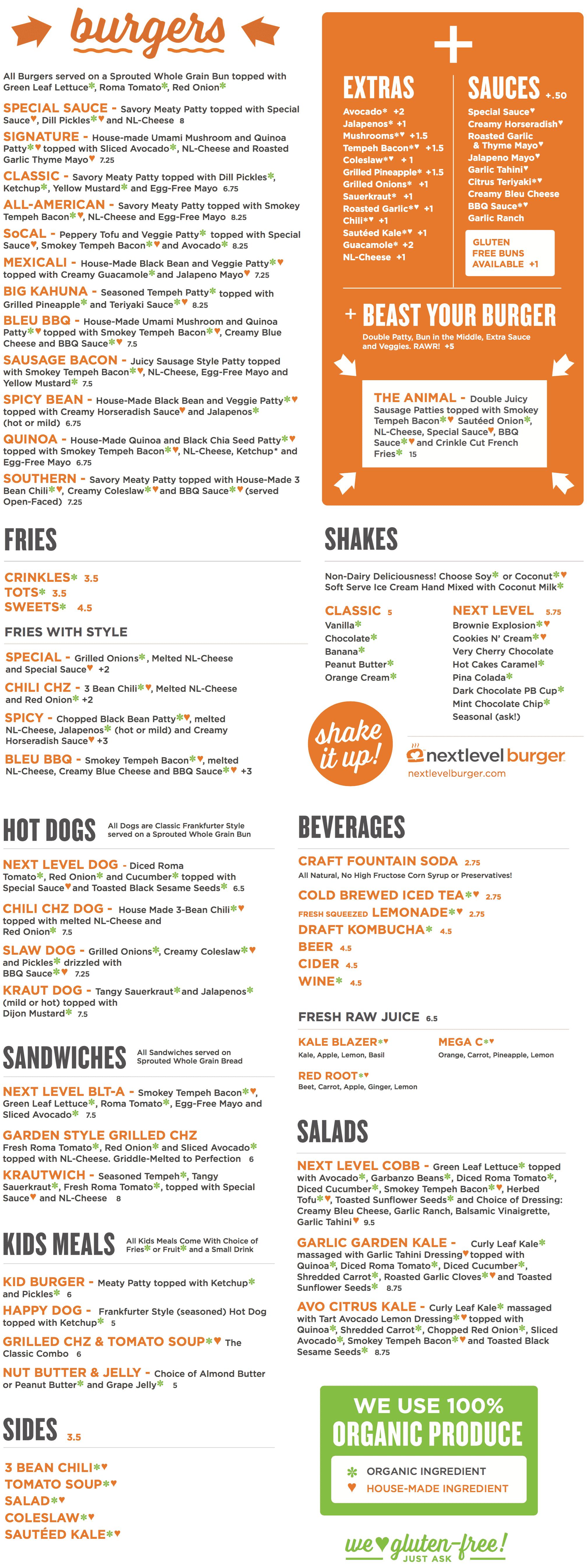 NextLevel Burger Lunch Menu for Lake Oswego and Hawthorne